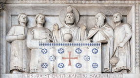 Bass-relief representing the Stories of St. Martin, Cathedral of St. Martin in Lucca, Italy stock photo
