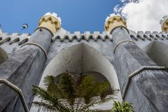 Detail of a bastion of the Palacio da Pena. The beautiful castle of the Palacio da Pena in the park of Sintra stock image