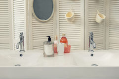 Detail of bath room. Detail of cozy home bath room stock photo