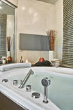 Detail of the bathtub in a modern bathroom Royalty Free Stock Photo