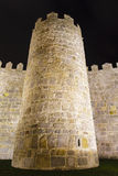 Detail of the battlements of the walls of avila. At night Royalty Free Stock Images