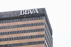 Detail of the BBVA bank building facade. BILBAO, SPAIN - MARCH 09, 2017: Detail of the BBVA bank building facade sited on the Gran Via. Banco Bilbao Vizcaya Stock Photo