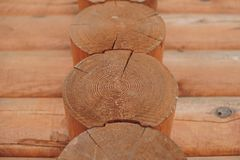 Detail of beams in cabin wall. Painted wood with fungicide paint. Closeup of three elements stock photography
