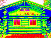 Detail of beams in cabin wall. Traditional construction of wooden house in  thermography scan. Royalty Free Stock Photography