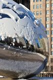 Detail of the Bean, Cloud Gate, in Winter, Millennium Park, Chicago Stock Photography