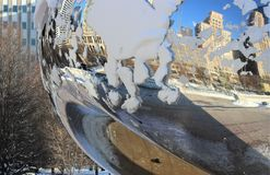 Detail of Cloud Gate, the Bean in Winter, Millennium Park, Chicago Stock Photography