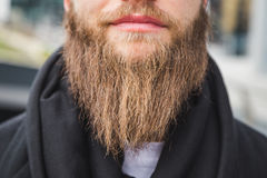 Detail of beard of a man posing in the street Royalty Free Stock Photos