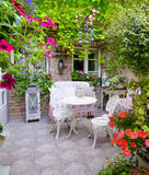 Detail of the beautiful home garden in spring, full of flowers Royalty Free Stock Photo