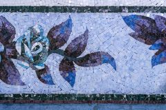 Detail of a beautiful marble mosaic panel. Interior marble mosaic. A piece of marble Venetian mosaic as a decorative background. Selective focus stock image