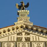 Detail of beautiful romanesque facade Stock Photos