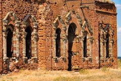 Detail of beautiful ruined Orhtodox cathedral royalty free stock image