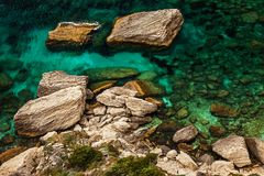 The detail of rocky beach in Corsica of France stock photos