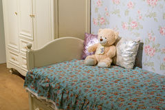 Detail of bedrooms for girls with a teddy bear Royalty Free Stock Photos
