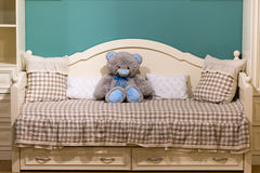 Detail of bedrooms for girls with a teddy bear Royalty Free Stock Images