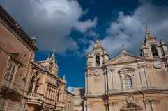 Detail of the bell tower of the cathedral city of Midna. Detail of the cathedral city of Mdina, Malta Stock Photos