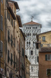 Detail of the bell tower of Saint Michael`s cathedral, Lucca. Detail of the bell tower of Saint Michael`s cathedral Italy-Tuscany-Lucca Royalty Free Stock Photo