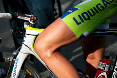 Detail of Ben king's leg  and the liquigaz team Royalty Free Stock Photo
