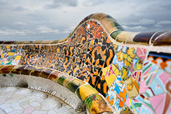 Detail of the bench by Gaudi in Parc Guell. Detail of the bench in Park Guell, designed by Antonio Gaudi, Barcelona. Part of the UNESCO World Heritage Site Royalty Free Stock Photography