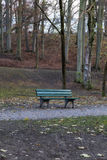 Detail of a Bench in a Park in Autumn Royalty Free Stock Photography