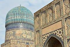 Bibi-Khanym mosque Samarkand, Uzbekistan. Detail on the Bibi-Khanym mosque, one of the Islamic world's biggest mosques, built by Timur in 15th century royalty free stock photo