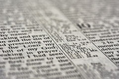 Detail of bible text Stock Images