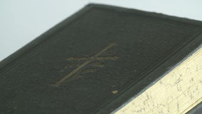 The detail of the bibles cover stock footage