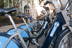 Detail of bicycles for hire in London. Royalty Free Stock Photo