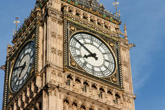 Detail of Big Ben Tower's. Big Ben is the nickname for the great bell of the clock at the north end of the Palace of Westminster in London royalty free stock image