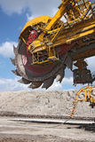 Detail of big excavator in coal mine stock images