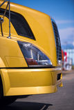 Detail of big modern semi truck yellow Stock Photo