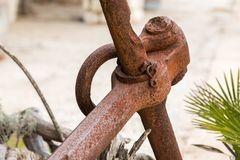 Detail of a big old rusty anchor. Croatia Royalty Free Stock Photography