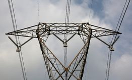 Detail of a big  pylon with very long electric wires Stock Photo