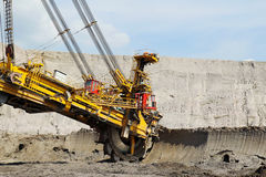 Detail of big wheel brown coal mine excavator Royalty Free Stock Photos