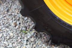 Detail big wheel of the heavy building dozer Stock Photo