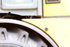 Detail big wheel of the heavy building dozer Stock Photos