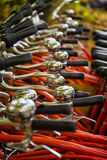 Detail of Bike Handlebars and Bicycle Bells Royalty Free Stock Photography