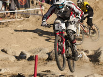 Detail of bikers on jumps - editorial Royalty Free Stock Images