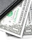 Detail of black purse with dollars Stock Image