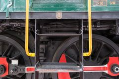 Detail of Wheels on Train Engine stock image