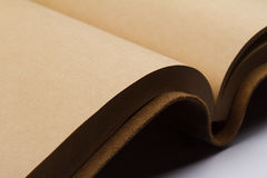 Detail of blank pages of a leather covered book Stock Image