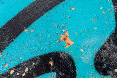 Detail of a blue and black graffiti Royalty Free Stock Image