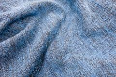 Detail of The Blue Blanket Textile Texture Royalty Free Stock Photography