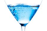 Detail of blue cocktail with bubbles Stock Images