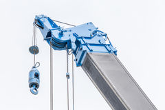Detail of blue construction crane for heavy lift using in constr Royalty Free Stock Images