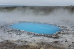 Detail of blue geothermal pond in Hveravellir Royalty Free Stock Images