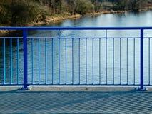 Detail of Blue Handrail on the Bridge Stock Image
