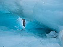 Detail of blue ice hole on a glacier Royalty Free Stock Photography