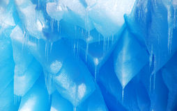 Detail of blue icicles on an iceberg in antarctica Royalty Free Stock Photos