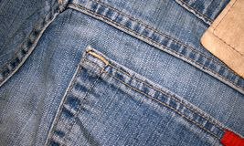 Detail of blue jeans. Royalty Free Stock Images