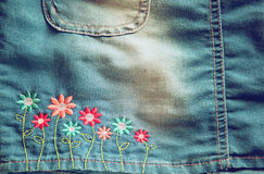 Detail of blue jeans skirt Royalty Free Stock Image